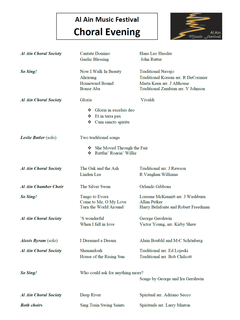 Choral Evening Programme 14 Nov 2014