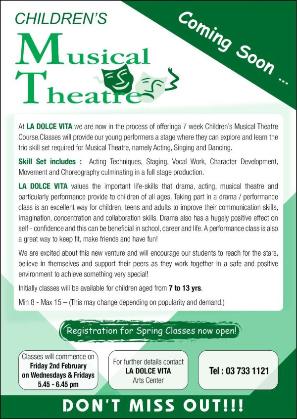 Musical Theatre spring classes LDV